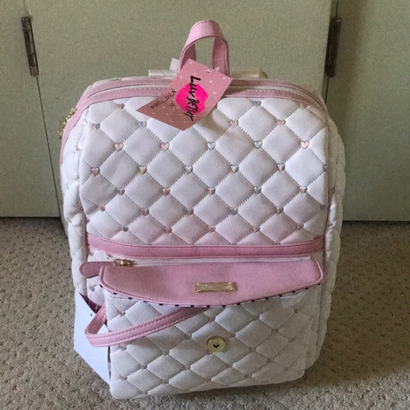 2d67159f49 New Betsey Johnson white rainbow heart backpack